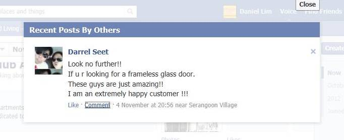 Testimonials from satisfy happy customer facebook feedbacks and comments on made to measure Frameless Doors Glass Curtains Enclosures and Room Dividers or Paartitions for Balcony Patio Home Office and more About Us & Testimonials