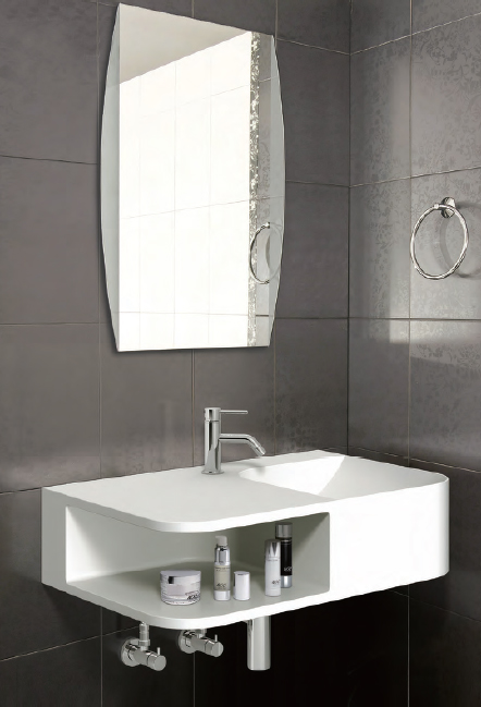 Radii JAPAN: Radii   A one piece wall mounted wash basin, using an eco friendly material Acrylic Resin