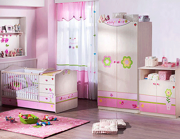 "The ""Baby Flower"" Big Baby Bedroom Set Children Furniture: Bedroom Set for 0 to 3 years old"