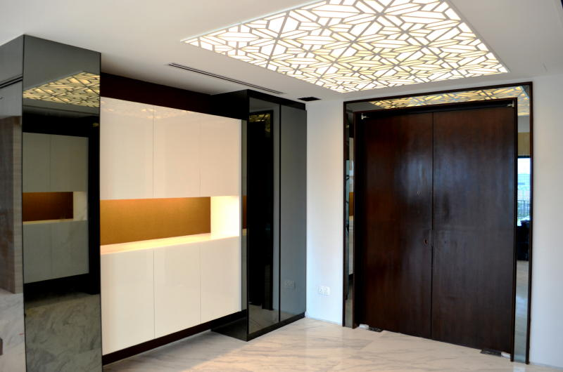 Modern Foyer Design : Penthouse double storey modern oriental front foyer of