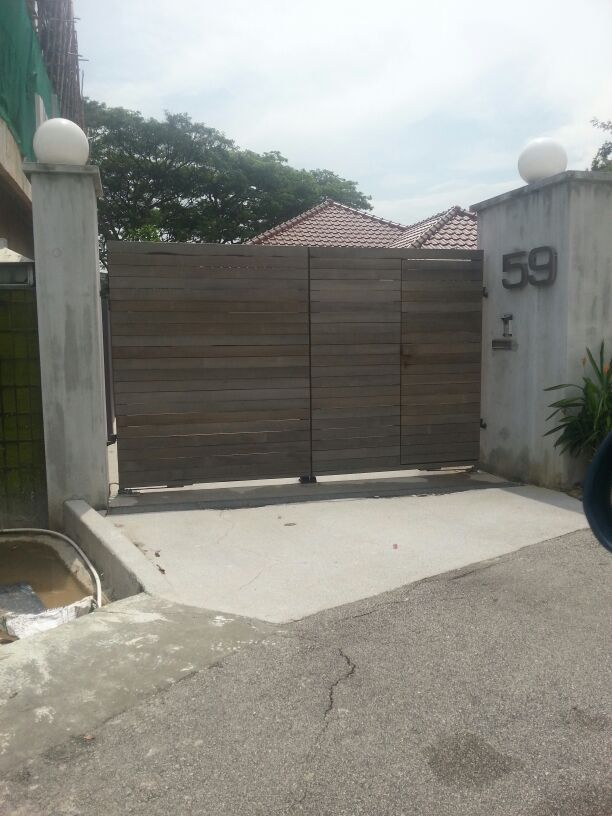 Horizontal Wood Design with side door for landed detached house car driveway gate Custom Swing or Slide Driveway Gate and Gate Ornamentals for Singapore Commercial and Residential Landed Private Properties: Stainless Steel, Wrought Iron, Mild Steel and Timber / Aluminium Wood Grain Designs