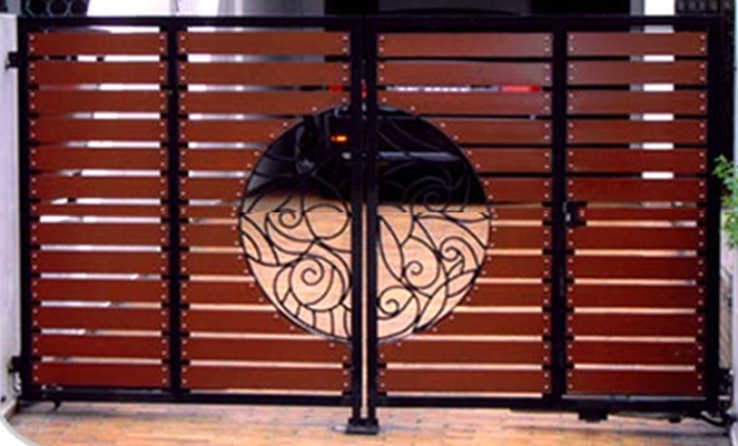 Wood grain pattern with classic circle design Custom Swing or Slide Driveway Gate and Gate Ornamentals for Singapore Commercial and Residential Landed Private Properties: Stainless Steel, Wrought Iron, Mild Steel and Timber / Aluminium Wood Grain Designs