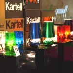 Kartell lightings, table lamps, glossy unique colorful intensity, blue, green, white, orange and red