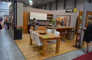 Kitchen design with island and stools white body cabinet with wooden design Czech Republic 300x198 Kitchen Designs by Inspired European Furniture and Home Designs: Furniture and Interior Design Fair in Exhibition Centre, Letnany