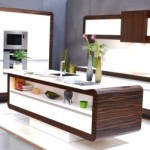 Kitchen design with island, white body with wooden design frame, built oven and mircowave, Miro Interiery Czech Republic