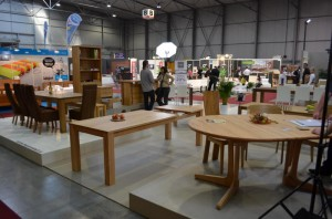 Wooden dinning table display in the exhibition hall 300x198 Kitchen Designs by Inspired European Furniture and Home Designs: Furniture and Interior Design Fair in Exhibition Centre, Letnany