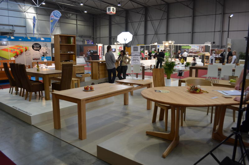 Wooden Dinning Table Display In The Exhibition Hall .