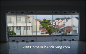 Dido Private Landed Property as Balcony Door Opening Ventilation Position Direct View.jpg 300x190 Official Site of Latest Frameless Doors System & Flying Door Designs: Space Design Solutions for protecting Home Balcony, Patio, Room Dividers, Home Office, Office Partition and more!