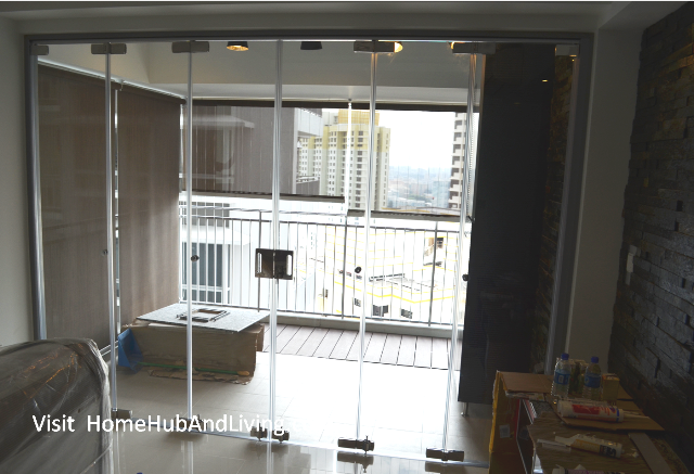 Open concept designs frameless door system for indoor for Hdb balcony design