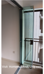 Singapore Frameless Door with Flying Door Design Collapsed to Side Wall with Railing 2 180x300 Official Site of Latest Frameless Doors System & Flying Door Designs: Space Design Solutions for protecting Home Balcony, Patio, Room Dividers, Home Office, Office Partition and more!