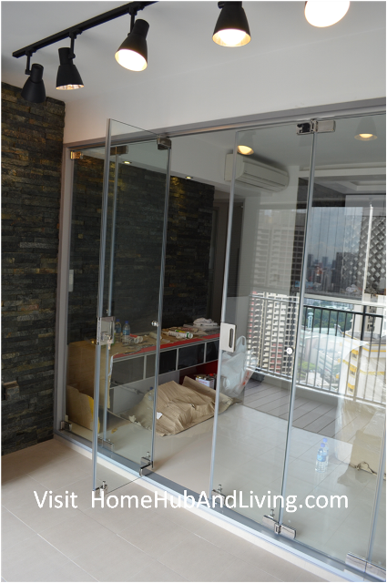 Open concept designs frameless door system for indoor for Balcony ideas singapore
