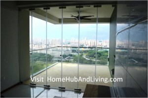 Singapore Private Property Fully Closed Frameless Door Beautiful Balcony City View 300x199 Official Site of Latest Frameless Doors System & Flying Door Designs: Space Design Solutions for protecting Home Balcony, Patio, Room Dividers, Home Office, Office Partition and more!