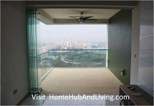 Singapore Private Property Fully Opened Frameless Door Beautiful Balcony City View 300x207 Official Site of Latest Frameless Doors System & Flying Door Designs: Space Design Solutions for protecting Home Balcony, Patio, Room Dividers, Home Office, Office Partition, Co Space Solutions and more!