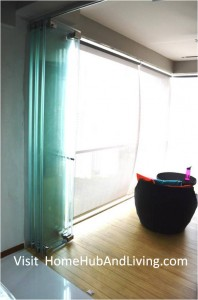 Singapore Private Property Fully Opened Frameless Door Enjoy privacy in balcony area side view 198x300 Official Site of Latest Frameless Doors System & Flying Door Designs: Space Design Solutions for protecting Home Balcony, Patio, Room Dividers, Home Office, Office Partition and more!