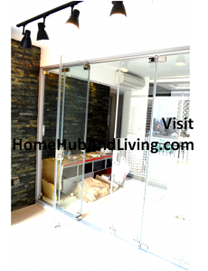 zzSingapore Frameless Door with Flying Door Design Flying Door Open 230x300 Official Site of Latest Frameless Doors System & Flying Door Designs: Space Design Solutions for protecting Home Balcony, Patio, Room Dividers, Home Office, Office Partition, Co Space Solutions and more!
