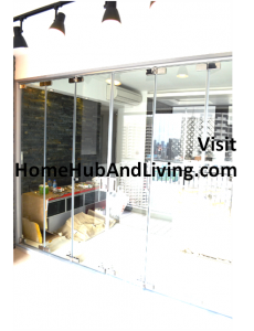 zzSingapore Frameless Door with Flying Door Designs Closed Position Living Room View 230x300 Official Site of Latest Frameless Doors System & Flying Door Designs: Space Design Solutions for protecting Home Balcony, Patio, Room Dividers, Home Office, Office Partition and more!