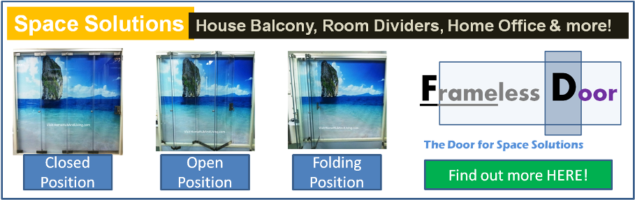 Official Site of Latest Frameless Doors System & Flying Door Designs: Space Design Solutions for protecting Home Balcony, Patio, Room Dividers, Home Office, Office Partition, Co Space Solutions and more!