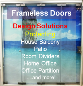 Frameless Door icon 292x300 Sound Proofing or Noise Damping Cancellation / Reducing Barrier: UPVC Windows & Doors Solutions Now Come with Built in Curtain Blinds (Optional Woodgrain Aluminium Frame Door)
