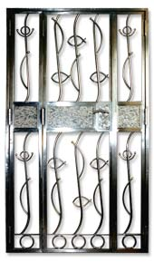 Stainless Steel Gate extended size with mix silver nugnett fish design and mix marble designs Stainless Steel Front Gate Door for Private Apartment and Houses, DBSS and HDB: Customise Designs with Embedded Marble