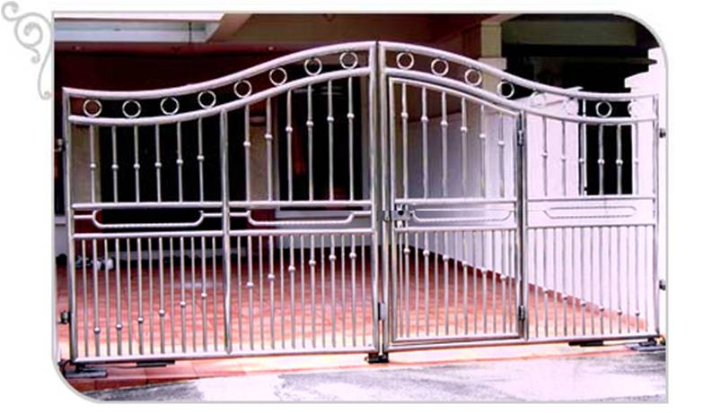 Swing Glossy Stainless Steel Bell Curve Top Driveway Gate Design 1 Custom Swing or Slide Driveway Gate and Gate Ornamentals for Singapore Commercial and Residential Landed Private Properties: Stainless Steel, Wrought Iron, Mild Steel and Timber