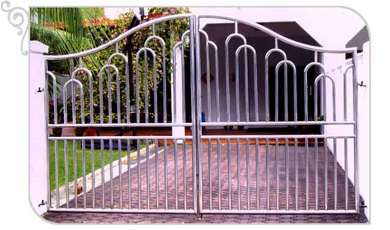 Swing Glossy Stainless Steel Bell Curve Top Driveway Gate Design 2 Custom Swing or Slide Driveway Gate and Gate Ornamentals for Singapore Commercial and Residential Landed Private Properties: Stainless Steel, Wrought Iron, Mild Steel and Timber / Aluminium Wood Grain Designs