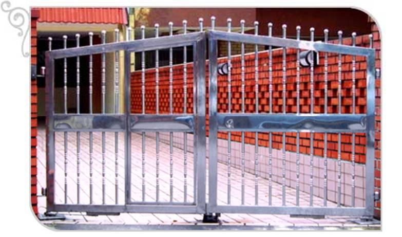 Swing Glossy Stainless Steel Peak Top Driveway Gate Custom Swing or Slide Driveway Gate and Gate Ornamentals for Singapore Commercial and Residential Landed Private Properties: Stainless Steel, Wrought Iron, Mild Steel and Timber / Aluminium Wood Grain Designs