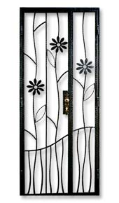 wrought iron gate with flowers and lower ground Wrought Iron Front Gate Door for Private Apartments, DBSS and HDB: Customise Designs with select color