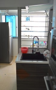 Seng Kang HDB Compassvale Beacon Kitchen washing basin and plate rack oven and cabinet service yard 187x300 Contemporary Oriental Design in HDB 4 Room Type in Sengkang Compassvale Beacon