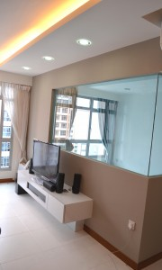 Seng Kang HDB Compassvale Beacon Living Room Hall TV console and common room wall replace by clear glass wall and false ceiling L box 180x300 Contemporary Oriental Design in HDB 4 Room Type in Sengkang Compassvale Beacon