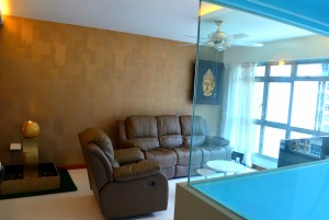 Seng Kang HDB Compassvale Beacon Living Room Hall picture frame sofa and water feature door with Common room glass wall 300x201 Contemporary Oriental Design in HDB 4 Room Type in Sengkang Compassvale Beacon