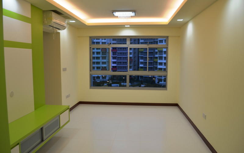 Beautiful View From Lively Apple Green Theme Living Room 1 Modern Design  For HDB 3 Room