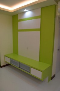 Designer Suspensed TV Console in lively Green and White Tones 4 198x300 Modern Design for HDB 3 Room Type Apartment with Modern Zen Bed Frame (Tatami) in Punggol Spectra : Living Room Hall