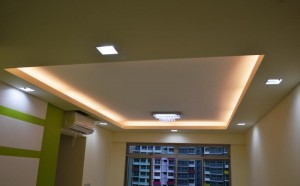 False ceiling in living room 5 300x186 Modern Design for HDB 3 Room Type Apartment with Modern Zen Bed Frame (Tatami) in Punggol Spectra : Living Room Hall