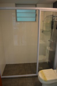 Sliding Shower Screen Clear Tempered Glass 3 198x300 Modern Design for HDB 3 Room Type Apartment with Modern Zen Bed Frame (Tatami) in Punggol Spectra : Common Room and Toilet