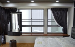 Masterbed room with bay window and feature head board Full Length Side View 5 Room DBSS at The Peak Toa Payoh 5 300x187 Modern Classic Black and White Design Concept The Peak @ Toa Payoh, HDB DBSS 5 Room, Type C2A