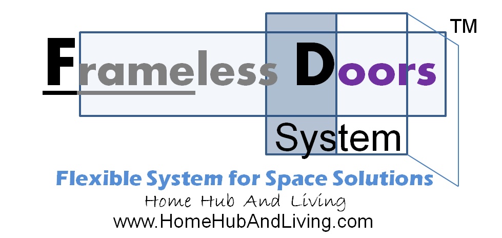Frameless Door Logo TM Flexible System for Space Solutions www.Home Hub And Living.com   Official Site of Latest Frameless Doors System & Flying Door Designs: Space Design Solutions for protecting Home Balcony, Patio, Room Dividers, Home Office, Office Partition, Co Space Solutions and more!
