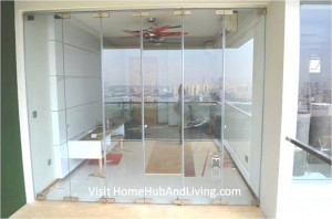 Fully Closed Frameless Door Creative Interior Design Living Room robust innovative glass system 300x198 True Open Concept Design with Living Room and Balcony: Enjoy Full View and New Define Feeling of Balcony Space