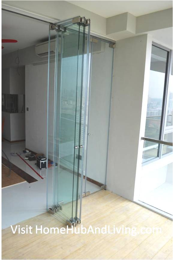 Half Opened Frameless Door Side View Robust Innovative Glass System True Open Concept Design with Living Room and Balcony: Enjoy Full View and New Define Feeling of Balcony Space