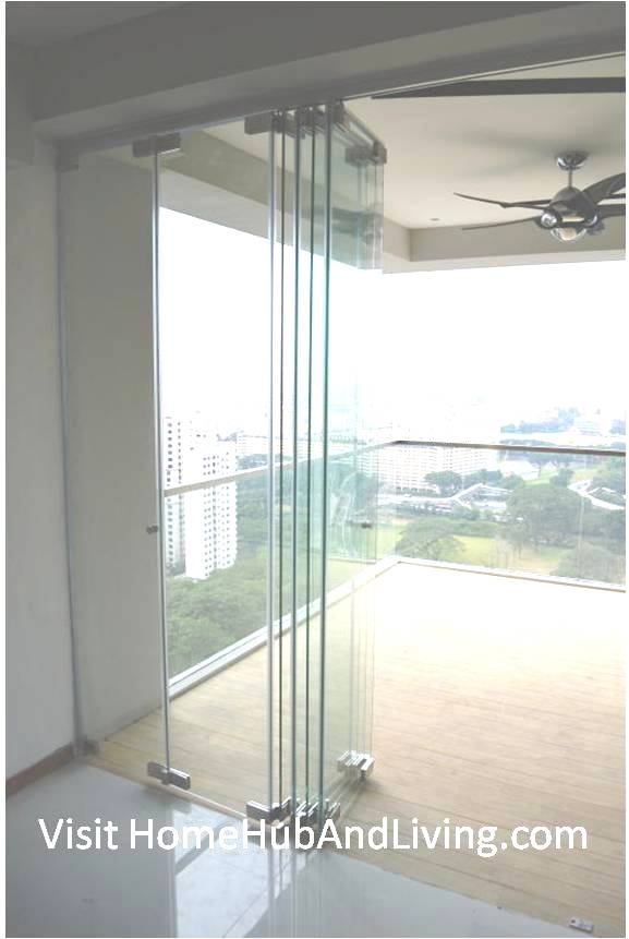 Half Opened Frameless Door Side Viewfor half room ventilation. Robust Innovative Glass System True Open Concept Design with Living Room and Balcony: Enjoy Full View and New Define Feeling of Balcony Space