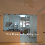 Indoor Kitchen And Living Room Direct View Closed Frameless Door 150x150 Modern Design for HDB 3 Room Type in Punggol Spectra