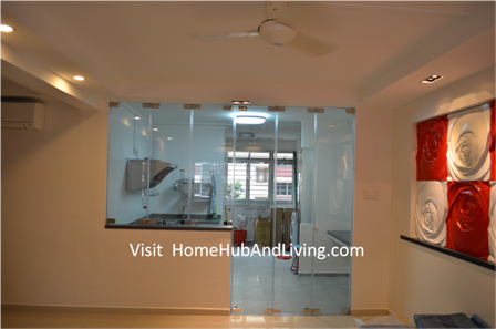 Indoor Kitchen And Living Room Direct View Closed Frameless Door Protect Smell and Oily Smoke Cooking Enter Beautiful Cozy Living Room Yet Retaining Kitchen Open Concept Design: Flexible Frameless Door and Flying Door Designs Blend Kitchen, Living Room and Balcony Together Beautifully