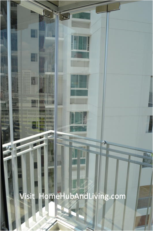 Interior View perfect finishing Closed Frameless Doors for Ang Mo Kio HDB DBSS Balcony Glass Curtain Folding Flying Improve Your Balcony Compound More Hygiene Than Before: Reduce Dust and Water Entering Your Compound