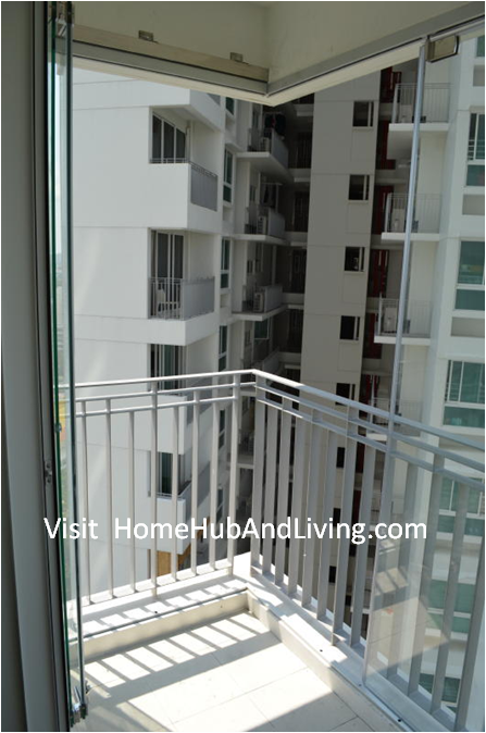 Interior View perfect finishing of HDB DBSS Partial Opened Frameless Doors for Balcony Glass Curtain smart windows Folding Flying Improve Your Balcony Compound More Hygiene Than Before: Reduce Dust and Water Entering Your Compound