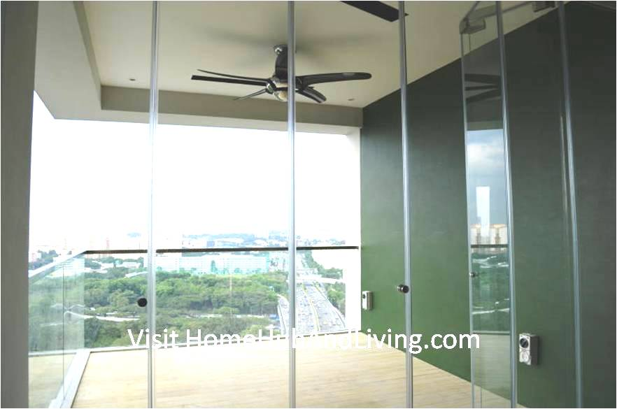 Partial Frameless Door Opened for Ventilation Balcony Ceiling with Fan robust innovative glass system True Open Concept Design with Living Room and Balcony: Enjoy Full View and New Define Feeling of Balcony Space