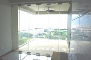 Singapore Private Property Fully Closed Frameless Door Beautiful Balcony City View 300x199 True Open Concept Design with Living Room and Balcony: Enjoy Full View and New Define Feeling of Balcony Space