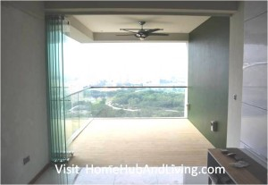 Singapore Private Property Fully Opened Frameless Door Beautiful Balcony City View 300x207 True Open Concept Design with Living Room and Balcony: Enjoy Full View and New Define Feeling of Balcony Space