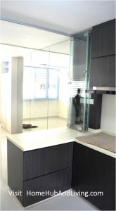 Counter Top Frameless Door Opened View from inside Kitchen 165x300 Stylish Designed Modern Kitchen (Counter Top Island) with Frameless Door System Designs as Kitchen Partitions