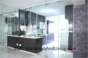 Counter Top and Kitchen Entrance Closed Side Living Room View 300x198 Official Site of Latest Frameless Doors System & Flying Door Designs: Space Design Solutions for protecting Home Balcony, Patio, Room Dividers, Home Office, Office Partition, Co Space Solutions and more!
