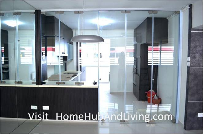 Counter Top and Kitchen Entrance Frameless Door Closed Direct View Stylish Designed Modern Kitchen (Counter Top Island) with Frameless Door System Designs as Kitchen Partitions