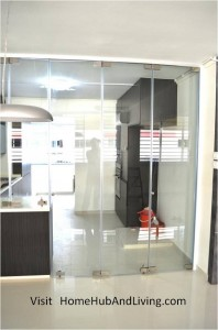Kitchen Entrance Frameless Door Closed Direct view 198x300 Stylish Designed Modern Kitchen (Counter Top Island) with Frameless Door System Designs as Kitchen Partitions
